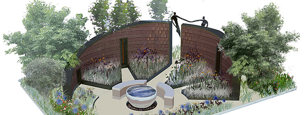 Jardim The WellChild Garden, da autoria de Olivia Kirk Built.