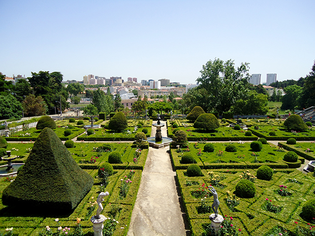 Vista para o jardim formal da biblioteca